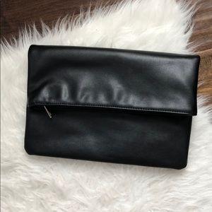 F21 Black Faux Leather Clutch